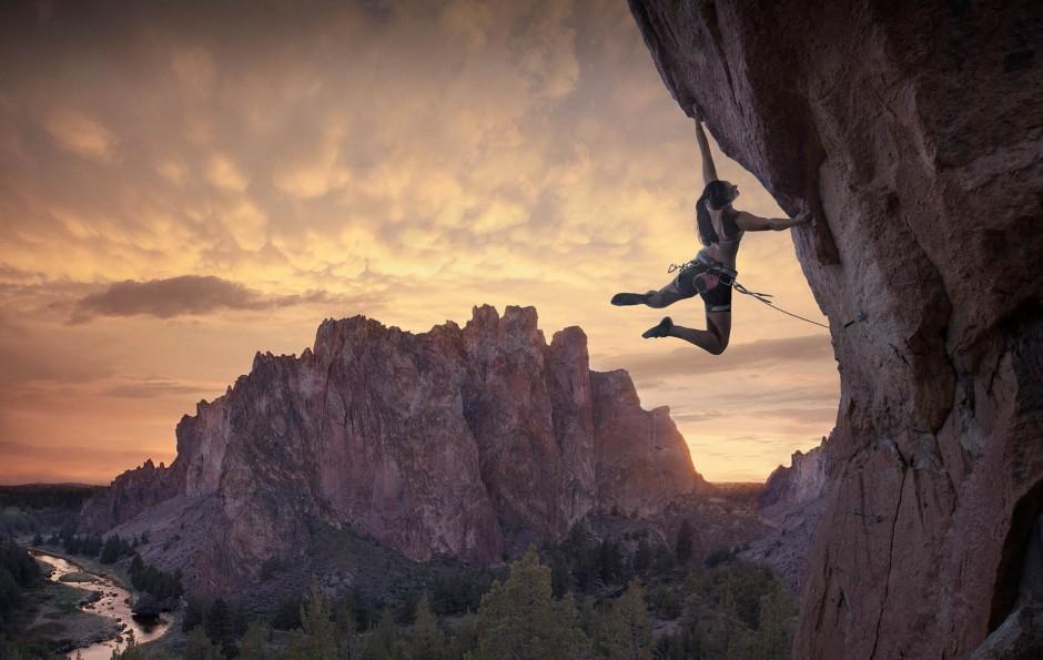 Rock climbing, wall climbing