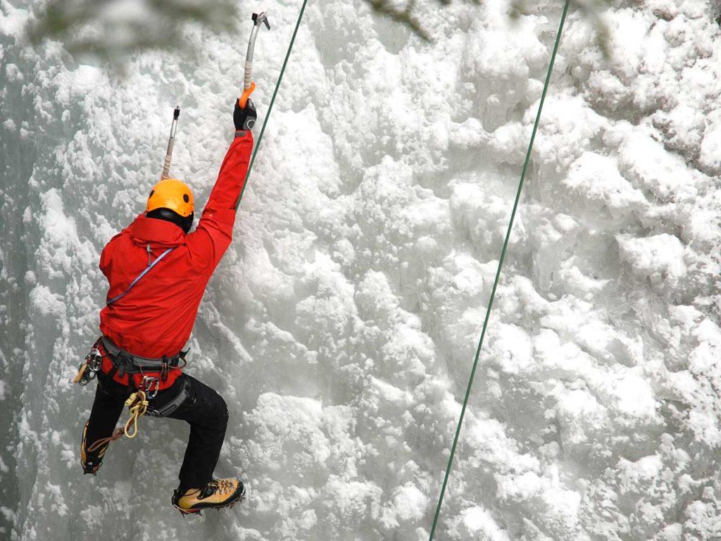 Icepark, ice-wall climbing
